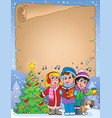 parchment with carol singers vector image