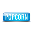 popcorn blue square 3d realistic isolated web vector image vector image