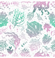 seaweed seamless pattern marine plants silhouette vector image vector image