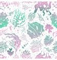 seaweed seamless pattern marine plants silhouette vector image