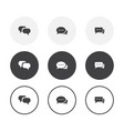 set 3 simple design chat icons rounded vector image