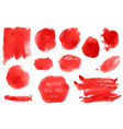 set of bloody red pink watercolor hand painted vector image