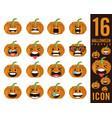 set of halloween scary pumpkins vector image vector image
