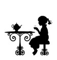 silhouette girl drink tea at table vector image