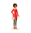 smiling african american girl in casual clothes vector image