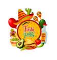 sombrero tequila maracas mexican cinco de mayo vector image vector image