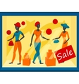 Storefront with mannequins vector image vector image