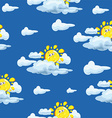 Wallpaper Pattern with Sun and Clouds vector image vector image