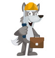 wolf with tools on white background vector image vector image