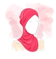 Woman dressed in colored hijab vector image