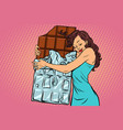 woman hugs chocolate love sweets vector image vector image