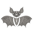 Zentangle black Bat totem for adult anti stress vector image vector image