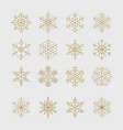 minimal golden snowflakes set vector image