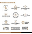 set of coffee and tea logo combination vector image