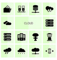 14 cloud icons vector image vector image
