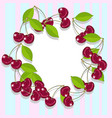 an empty frame of juicy and ripe cherries vector image vector image