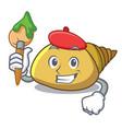 artist mollusk shell character cartoon vector image