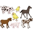 baby farm animals set vector image vector image