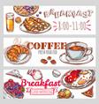 breakfast banner set vector image vector image