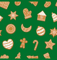 cartoon christmas cookies seamless pattern vector image vector image