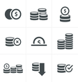 Coins Icons Set Design black color vector image vector image