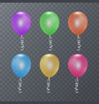 colorful festive balloons on transparent vector image