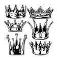 crown king and queen set black and white king vector image vector image