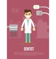 Dental office banner with dentist and equipment vector image vector image