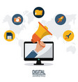 digital marketing technology remote business vector image vector image