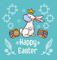 easter bunny with a face mask near colorful vector image vector image