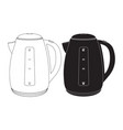 electric kettle black and white icon vector image