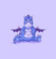 emoji character cartoon dragon dinosaur sad vector image