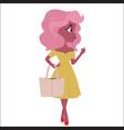 fashionable girl cartoon character vector image vector image