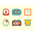 Flat clock icons set vector image