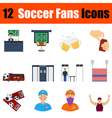 Flat design football fans icon set vector image