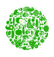 fruits and vegetables berries organic food icons vector image