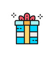 gift box holiday packing party box flat color vector image