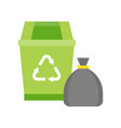 green recycle bin and garbage bag cleaning and vector image