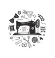 hand drawn set with sewing and knitting tools and vector image