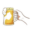 hand with a beer mug alcoholic drink vector image