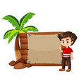 happy boy and wooden sign vector image vector image