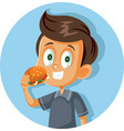 happy boy eating a hamburger cartoon vector image