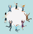 happy business people jumping with round frame vector image vector image