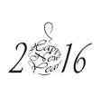 Happy New Year 2016 black and white logo vector image vector image