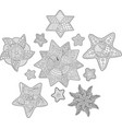 isolated beautiful stars for coloring book pages vector image vector image