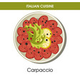 italian cuisine carpaccio meat or fish appetizer vector image vector image