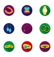 Jewelry and accessories set icons in flat style vector image vector image