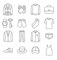 Mens clothes line icons set vector image