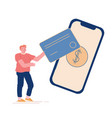 noncontact payment concept man buyer character vector image vector image