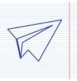 paper airplane sign navy line icon on vector image vector image